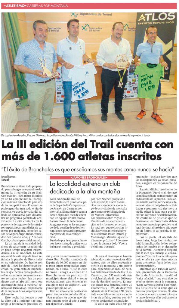 Noticia Diario de Teruel Jamones Bronchales